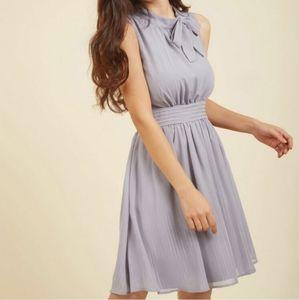 ModCloth Sunny City A-Line Dress Moon Striped Gray